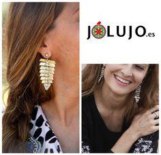 Pendientes Safiya en dorado o plateado.www.jolujo.es