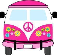 Dibujos. Clipart. Digi stamps - Hippie Van - Pink Car