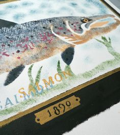 Mick Manning 'Percy's Salmon' stencil print (detail) http://www.stjudesprints.co.uk/collections/mick-manning