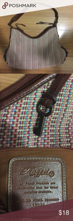 GUC Fossil woven leather hobo shoulder bag purse Brown leather and multi color woven thread - bag has some wear on zipper pull and key fob - medium Fossil Bags Hobos
