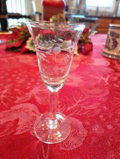 Vintage Shot Glass Etched Clear Crystal Stemware by ThePearlSwan