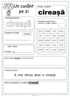 Fise cu cuvinte pentru clasa intai. Un cuvant pe zi Printable Worksheets, Printables, Printed Pages, Projects For Kids, Vocabulary, Homeschool, Teacher, Activities, Math