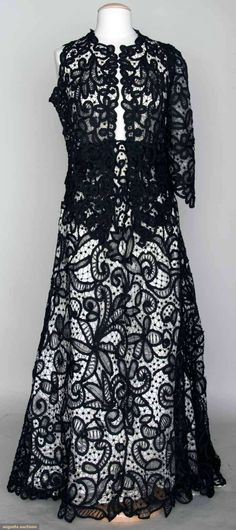 BELLE EPOQUE BLACK LACE DRESS, c. 1898 Go Back November 13, 2013 - NYC New York City Black battenburg lace trained skirt & jacket: c/o sleeveless jacket (never put together nor lined) & 2 unstitched sleeves, skirt w/o waistband - shown on mannequin w/ pinned waist & w/ 1 of 2 basted & pinned sleeves, excellent as-is.