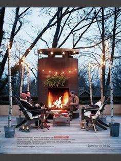 Birch poles in buckets for outdoor lighting @ Martha Stewart..1/14 issue
