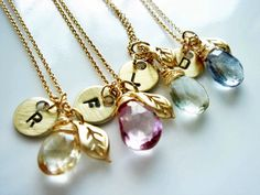 Gemstone Stamped Initial 14k Gold Fill Necklace