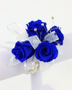 Royal Blue Corsage that Lasts a Year! Real roses that last a year. #preservedroses