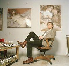 John Currin in his studio