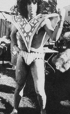 Paul Stanley wearing part of Ace Frehley's Dynasty costume (ca. 1979)