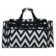 black Chevron Large 23 inch Duffle Bag Gym Dance luggage Vacation... ($38) ❤ liked on Polyvore featuring bags, luggage and sport