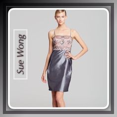 "Stunning Sue Wong Silver Cocktail/Party Dress Sue Wong designer is famous for her contemporary with a twist dress designs based on old Hollywood glamor, worn by many celebrities World wide...This stunning dress has a silver body with rose lace embellished bodice, hidden side zipper, adjustable straps,knee length, you will be the"" belle of the ball"" in this stunning dress.. Length:38"" Bust:36"" waist :30"" Sue Wong Dresses"