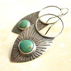 Rustic Turquoise Earrings -  Sterling Silver Shields Turquoise Tribal Earrings. $142.00, via Etsy.