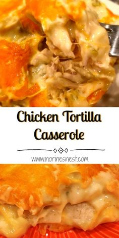 Layers of tortillas, chicken, in a mild green chili sauce loaded with cheese! It tastes like your favorite chicken enchilada's without all the work.