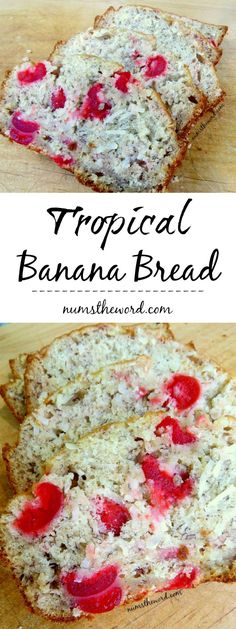 Dreaming of a vacation? Try this easy (and vegan friendly) Tropical Banana Bread! Bananas, Coconut & Maraschino cherries all packed into a tasty loaf!