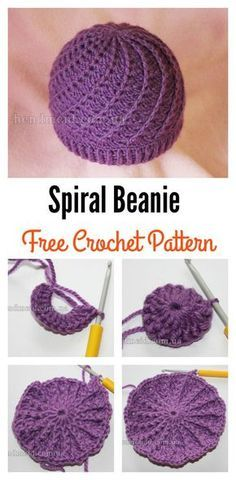 Crochet Beanie Ideas Slouchy Spiral Beanie Free Crochet Pattern - Slouchy Spiral Hat Free Crochet Pattern is surprisingly straight forward and very easy to create. It works up quickly in all double crochet stitches. Bonnet Crochet, Crochet Beanie Pattern, Crochet Cap, Double Crochet, Crochet Stitches, Crotchet, Spiral Crochet Pattern, Headband Pattern, Free Easy Crochet Patterns