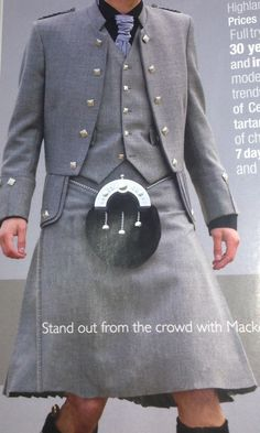 Cool all grey kilt outfit