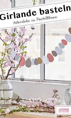 The decorative garland in pastel shades in front of the window is made very quickly. The decorative garland in pastel shades in front of the window is made very quickly. Diy Adornos, Diy And Crafts, Crafts For Kids, Easter Garland, Decoration Table, Balloon Decorations, Easter Crafts, Happy Easter, Activities For Kids
