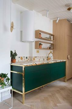 This green and the terrazzo counter top #kitchens #interiors #european