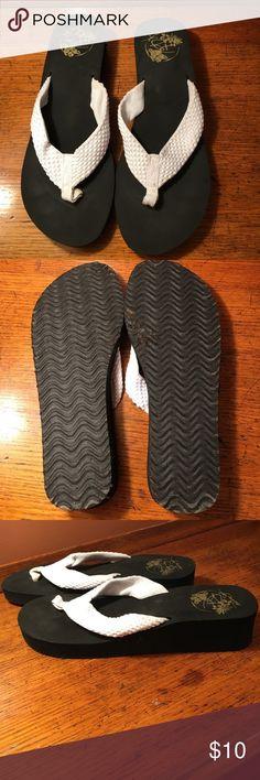 Panama Jack wedge flip flops 1 3/4 heel. Worn once!  Black with white straps. Panama Jack Shoes Sandals