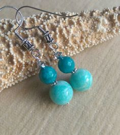 Amazonite & Agate earrings!!!  Handcrafted with Sterling Silver and twinkling silvery Swarovski crystals! Check out this item in my Etsy shop https://www.etsy.com/listing/469958289/amazonite-agate-drop-earrings
