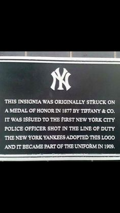 NY Medal of Honor and Yankees Insignia - I love this!