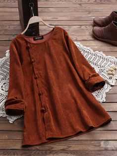 Vintage Corduroy Side Button Crew Neck Long Sleeve Blouse Cheap - NewChic Mobile