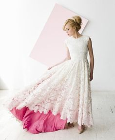 lace summer wedding dress with pink lining Houghton NYC