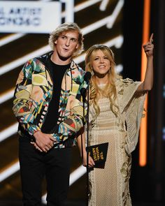 LAS VEGAS, NV - MAY 21:  Actor Logan Paul (L) and musician Lindsey Stirling speak onstage during the 2017 Billboard Music Awards at T-Mobile Arena on May 21, 2017 in Las Vegas, Nevada.  (Photo by Ethan Miller/Getty Images) via @AOL_Lifestyle Read more: https://www.aol.com/article/entertainment/2017/05/21/drake-to-billboard-music-awards-host-vanessa-hudgens-during-acce/22102498/?a_dgi=aolshare_pinterest#fullscreen
