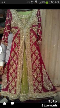 Imitation dress by Nadia K. You cab find get on fb. Pakistani Wedding Outfits, Pakistani Wedding Dresses, Bridal Outfits, Indian Dresses, Indian Outfits, Punjabi Fashion, Indian Fashion, Desi Bride, Desi Wedding