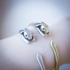 rabbit bracelet in gold or silver, layering bracelet, bunny bracelet, rabbit bangle, bunny bangle on Etsy, $18.50