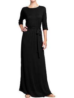 Women's Jersey Tie-Belt Maxi Dress (Black Jack). Old Navy. $36.94