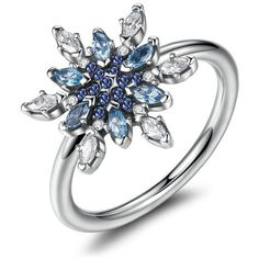 Authentic 925 Sterling Silver Ring Crystalized Snowflake With Blue... ($20) ❤ liked on Polyvore featuring jewelry, rings, sterling silver rings, snowflake ring, sterling silver cz rings, blue ring and cz rings