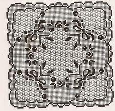 Elegant Filet Crochet Decor For Modern Table Desin - Page 4 of 4 - Crochet Filet Filet Crochet Charts, Crochet Diagram, Crochet Motif, Crochet Designs, Crochet Doilies, Doily Patterns, Knitting Patterns, Crochet Patterns, Fillet Crochet