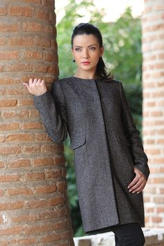 Grey jacket with wool and pockets grey - YOKKO Smart Coat, Smart Jackets, Cold Day, Quilted Jacket, Gray Jacket, Wool Coat, Ready To Wear, Minimalist, High Neck Dress