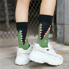 Jul 2019 - Alligator Socks – It's Okay To Be Weird No toes are safe in the swamps, especially from fearsome yet super comfortable alligator socks. These socks are sure to bring humor and style to any event. Made from Cotton, Polyester and Spandex. Funky Socks, Crazy Socks, Colorful Socks, My Socks, Happy Socks, Shark Socks, Unique Socks, Accesorios Casual, Custom Socks
