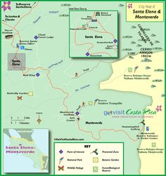Monteverde / Santa Elena Map, Costa Rica