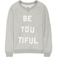 Zoe Karssen Be You Tiful jersey sweatshirt ($68) ❤ liked on Polyvore featuring tops, hoodies, sweatshirts, grey, patterned sweatshirts, jersey tops, gray top, quilted sweatshirt and grey sweatshirt