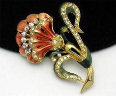Coro Vintage Brooch Beautiful Metallic Enamel Rhinestone Flower Pin   eBay