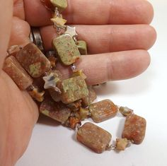 Jasper Stone Bead Hand Knotted Necklace, 22 inches (55.8cm) Long, Semi-Precious Necklace with Matching Earrings, Rectangle and Star Beads