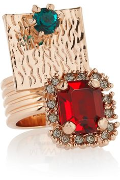 Rose gold-plated Swarovski crystal ring by Mawi