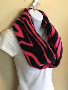 New to Sewdivine77 on Etsy: Neon Pink Zebra print infinity fleece scarf (15.00 USD)