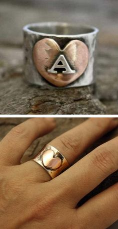 Personalized Follow Your Heart Initial Ring <3