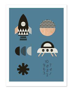 Raket jongens Art afdrukken blauwe achtergrond Kids art