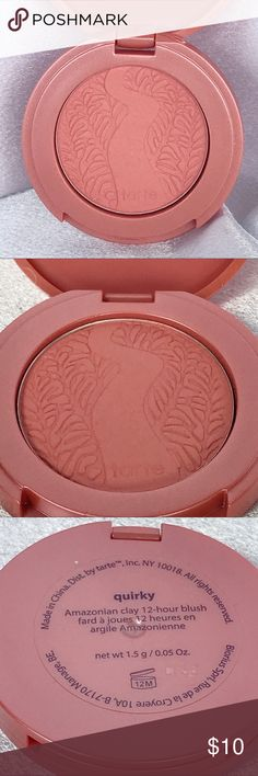 🆕Tarte Amazonian Clay Blush - Quirky🆕 New travel-size LE Tarte Amazonian Clay Blush in Quirky 0.05oz.  A long-wearing, supremely soft blush infused with Amazonian clay harvested from the banks of the Amazon River and naturally baked by the sun.