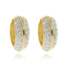 @Overstock.com - This beautiful pair of hoop earrings is crafted of 18-karat two-tone gold overlay with a highly polished finish. The earrings are set with a white diamond accent and secure with a clip-in clasp.http://www.overstock.com/Jewelry-Watches/New-Fusion-18k-Two-tone-Gold-Overlay-Diamond-Accent-Hoop-Earrings/7468305/product.html?CID=214117 $16.99