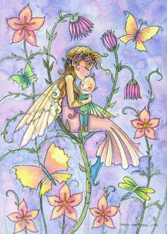 Molly Harrison mother and baby fairy greeting card by robmolily: Simple Serenity