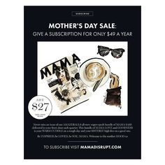 MOTHER'S DAY SUBSCRIPTION SALE!  If you are looking for the perfect Mother's Day gift (or want to let your other half know what you would like) our 12 month subscription is now ON SALE! Get all four of our game changing issues for the next year for only $49 with FREE POSTAGE and save $27! PLUS be one of the first to get your hands on each issue packed full of mama empowerment inspiration and style. Order now at mamadisrupt.com Link in bio xo