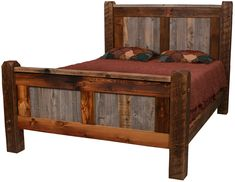 Natural Barnwood Bed The Natural Barn Wood bed is crafted from reclaimed wood, taken locally from old barns, structures & dead standing pine timbers. The Natural Barn Wood collection features reclaimed wood handcr Pallet Furniture, Rustic Furniture, Bedroom Furniture, Cheap Furniture, Furniture Chairs, Furniture Plans, Kids Furniture, Garden Furniture, Furniture Sets