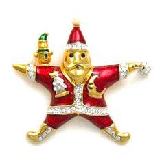 Designer Kenneth Jay Lane Jewels of Christmas Santa Pin at Redrosejewelry.com