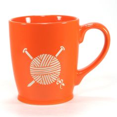 Knitting and drinking coffee or tea is the perfect afternoon. This large, sturdy coffee mug comes in tangerine orange, navy blue, sky blue or celery green. Looking for Crochet mugs instead? Large cera