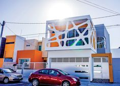 A with a facade that reflects the children's personalities. Located in Boca del Rio, Veracruz, Mexico. Residential Architecture, Modern Architecture, Modern House Design, Contemporary Design, Futuristic Home, Facade House, Kids House, Home Deco, Home Goods